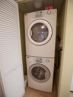 Full size washer and dryer located in the lower suite with starter pack for your stay!