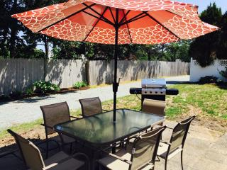 All new outdoor glass table with 6 chairs and stainless grill