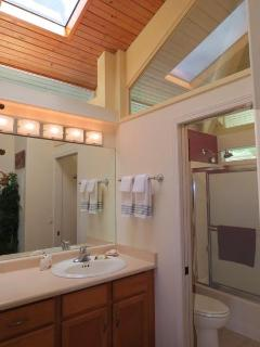 Sparkling clean.  Vanity separated by pocket door from shower. Lots of light and ventilation.