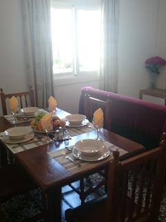 Table set for dinner.