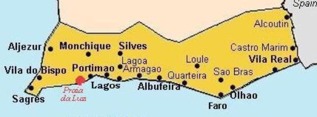 Algarve map with Luz highlighted