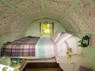 Double bed with welsh woollen blankets.