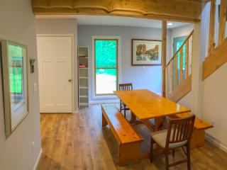 Dining Room with Door County Pine Table and Reclaimed Plum Bottom Cedar Beams