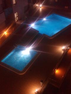 Pool at night time.