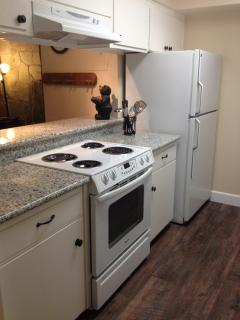 Newly updated galley style kitchen features granite countertops and rustic flooring!