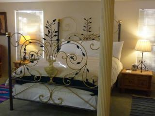 Sonoran Master Suite with custom-made iron queen bed. Has its own bathroom and in a quiet location
