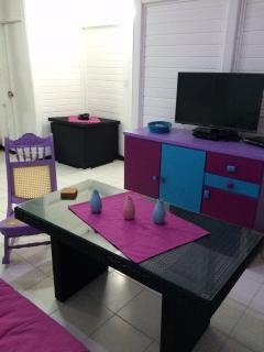 Livingroom with flatscreen satellite TV and DVD player