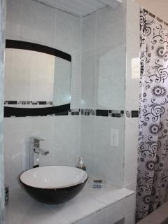 Modern bathroom with rain-shower