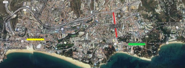 CPO (green), Oura strip (red), Albufeira center (yellow)