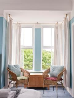 Family Bed room 1, sleeps 4 (one double bed plus 2 singles) with sea views