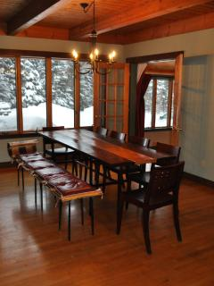 Eating area with large farm table