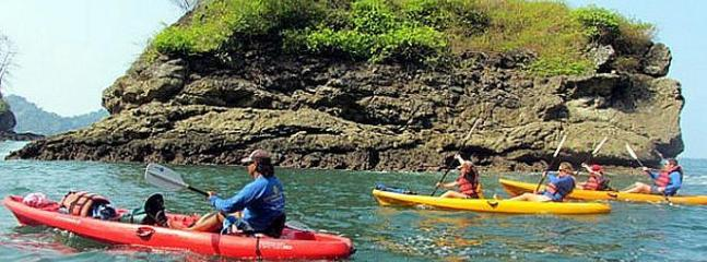 Kayaking around the stunning Manuel Antonio beach. You can also snorkel on this tour.