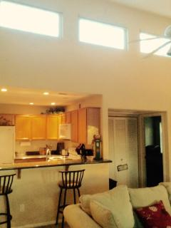 Vaulted ceiling in living area