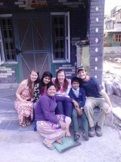 Our homestay family with Monique & Isabell.
