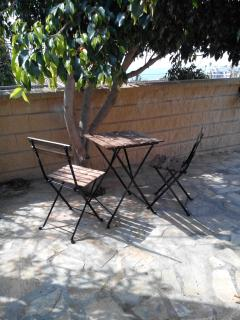 The table and chairs under the tree