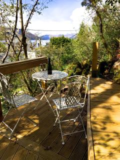 Decking with loch view (steps to access)
