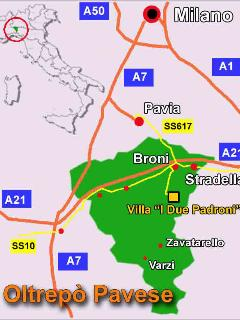 Location of the villa in the Oltrepò Pavese, 70km south of Milan