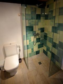La ducha con el mosaico de ceràmica artesanal.