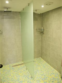 the wet room downstairs with heated floor