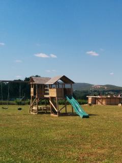 Playground, pool, backdrop