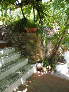 Vine covered terrace, offering a cool retreat from the mid days sun.
