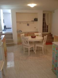Spacous kitchen,Dining seating for 6 people, Washing machine, microwave, fridge, toaster
