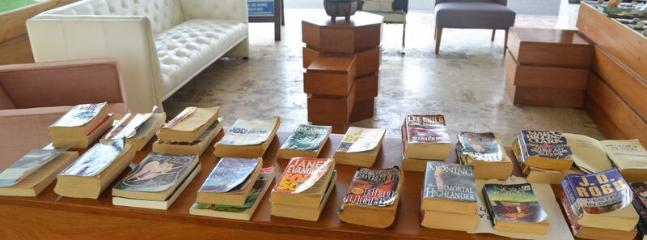 Lobby has area with books 'take one, leave one' for your reading pleasure
