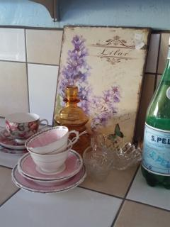 Vintage crockery is part of the many joys of staying in this home