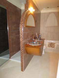 The bathroom with large shower, washstand, bidet and bathtub