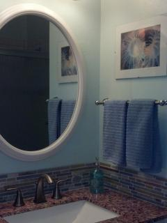 Guest bathroom has tub/shower combination with grab bars for safety.