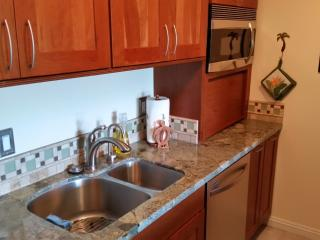 Super clean, newly renovated and fully stocked kitchen with most everything you'll need