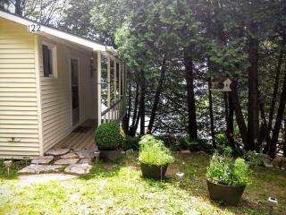 Exterior shot of the bac of the cottage.