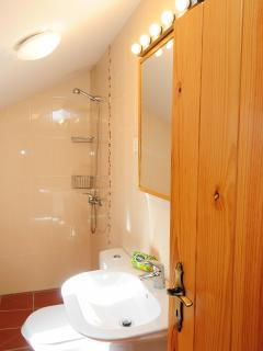 Spacious wetroom style bathroom, great for the children
