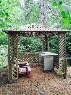 Peaceful gazebo in the forest