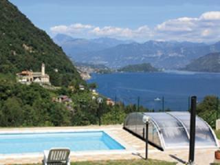 Lake Como, charming view on the lake and pool, Argegno