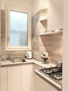 fully equipped kitchenette detail
