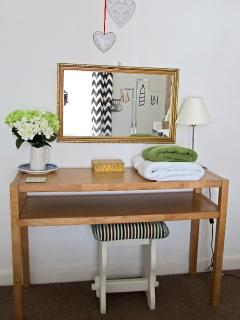 Oak dressing/console table with vintage stool
