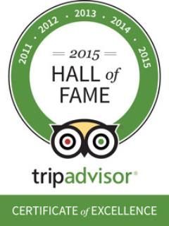 TRIP ADVISOR Hall of Fame; 5 years of 5 star reviews & 5 Certificates of Excellence!
