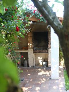 Jardín con barbacoa y leña a disposición