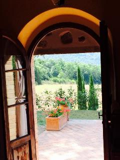 View through the sitting room door to the patio