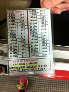 precios del parking de la calle Luis Morote, calle paralela