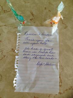 Thank you note from a guest.