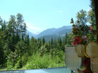 Summer view: have a glass of lemonade with a view of the Valhalla mountain range