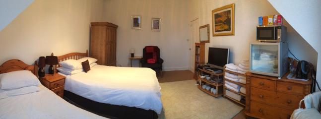 Guest room double single bed cable TV fridge Microwave towels south facing views to Cathrin braes