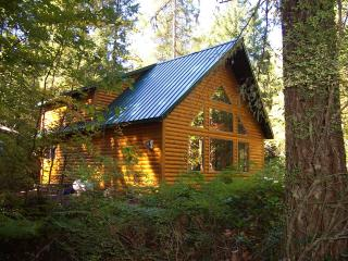 Mt Hood Log Chalet has hot tub & fireplace