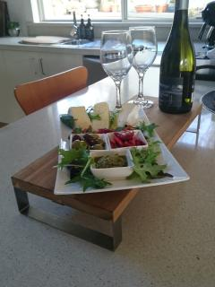 3 night package guests arrive to a complimentaryTasmanian cheese platter..