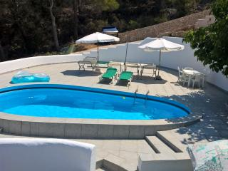 Private spacious pool terrace with Hammocks and sunbeds