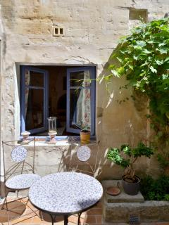 courtyard and table - looking in the kitchen window