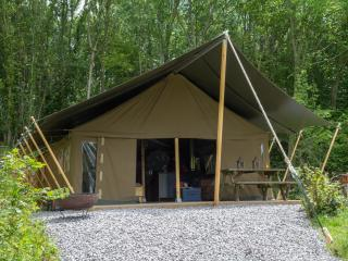 Safari lodge camping on dairy farm near Swanage, Langton Matravers
