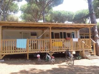 Mobile home on camping in a park on the sea, Anzio